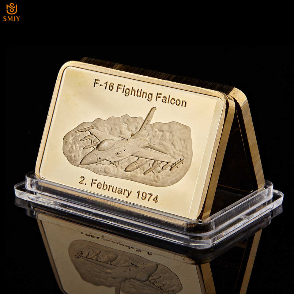 5Pcs 1947-1974 Vietnam War US Air Military Weapon F-16 Fighting Falcon Replica Gold Medallion Medal Gold Bar Collectibles Challe