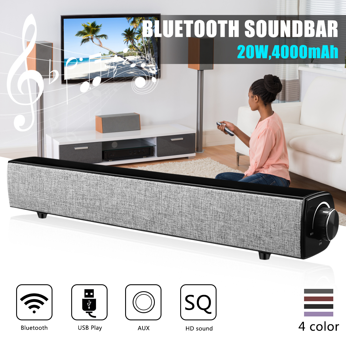 20 w Bluetooth Haut-Parleur Soundbar 4000 mah Sans Fil Basse Stéréo Subwoofer USB Aux 3.5mm pour Home Cinéma Smartphone PC