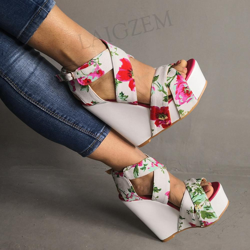 LAIGZEM GRACE Women Sandals Platform Wedges Multi Colors Sandals Ladies Handmade Zapatos De Mujer Shoes For Woman Big Size 34-52