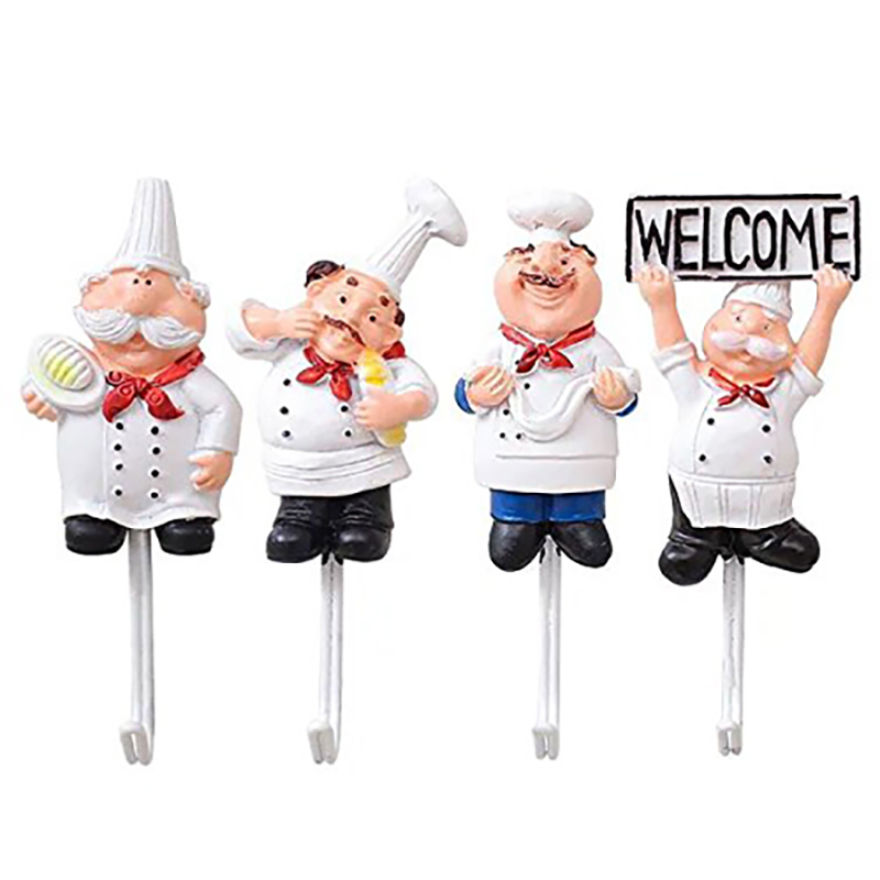 Hot Sale Pack Of 4 Resin French Chef Figurine Wall Hooks Decorative Cook Wall Mount Rack Hook Hanger(Assorted Style)