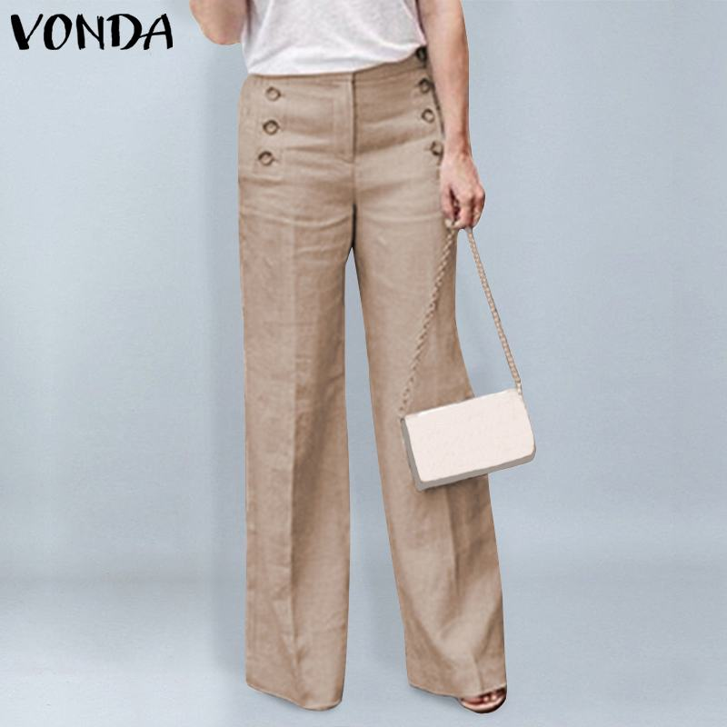 VONDA Fashion   Pants   Female 2019 Spring Autumn Office Ladies   Wide     Leg     Pants   Women Casual Buttons Zipper Trousers Bottom Oversized