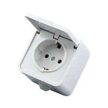 16A 250 в ЕС Немецкий водонепроницаемый разъем Европейский 2 P+ E анти-всплеск розетка питания белый немецкий y кабель розетка с крышкой(ЕС штекер