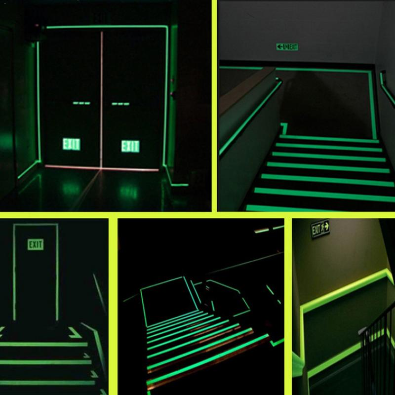New Trendy Furniture Decoration Luminous Wall Sticker Exit Passageway Warning Fluorescent Stripe Sticker Glowing Home Decoration