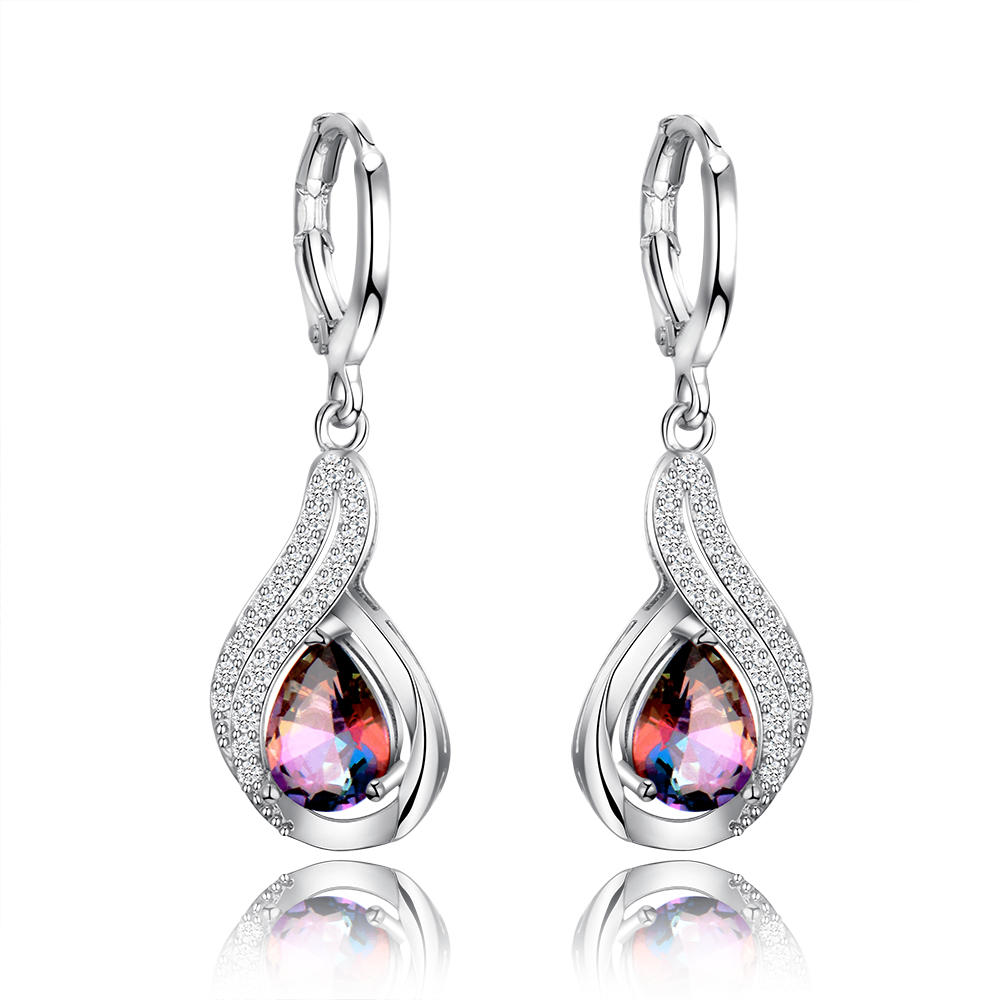 Natural Rainbow Fire Mystic Topaz Earrings Solid 925 Sterling Silver Jewelry Earrings For Women Party Engagement Wedding Gifts