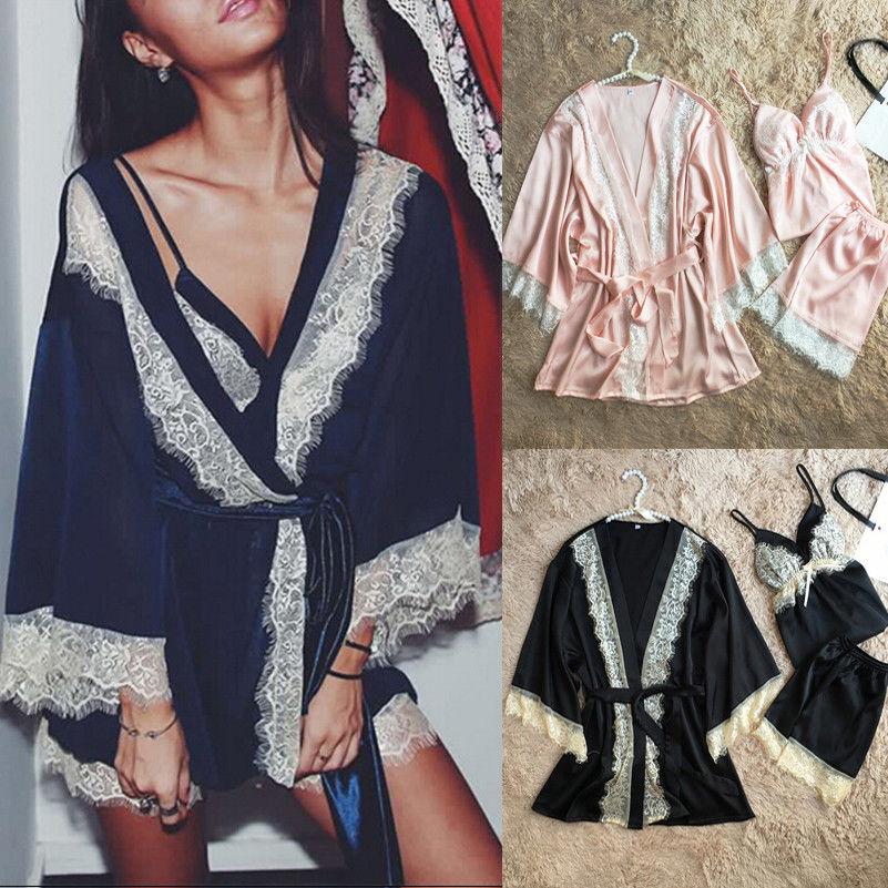 3PCS Women Lace Night Dress Silk Satin Pajama Sleepwear Robes Nightwear
