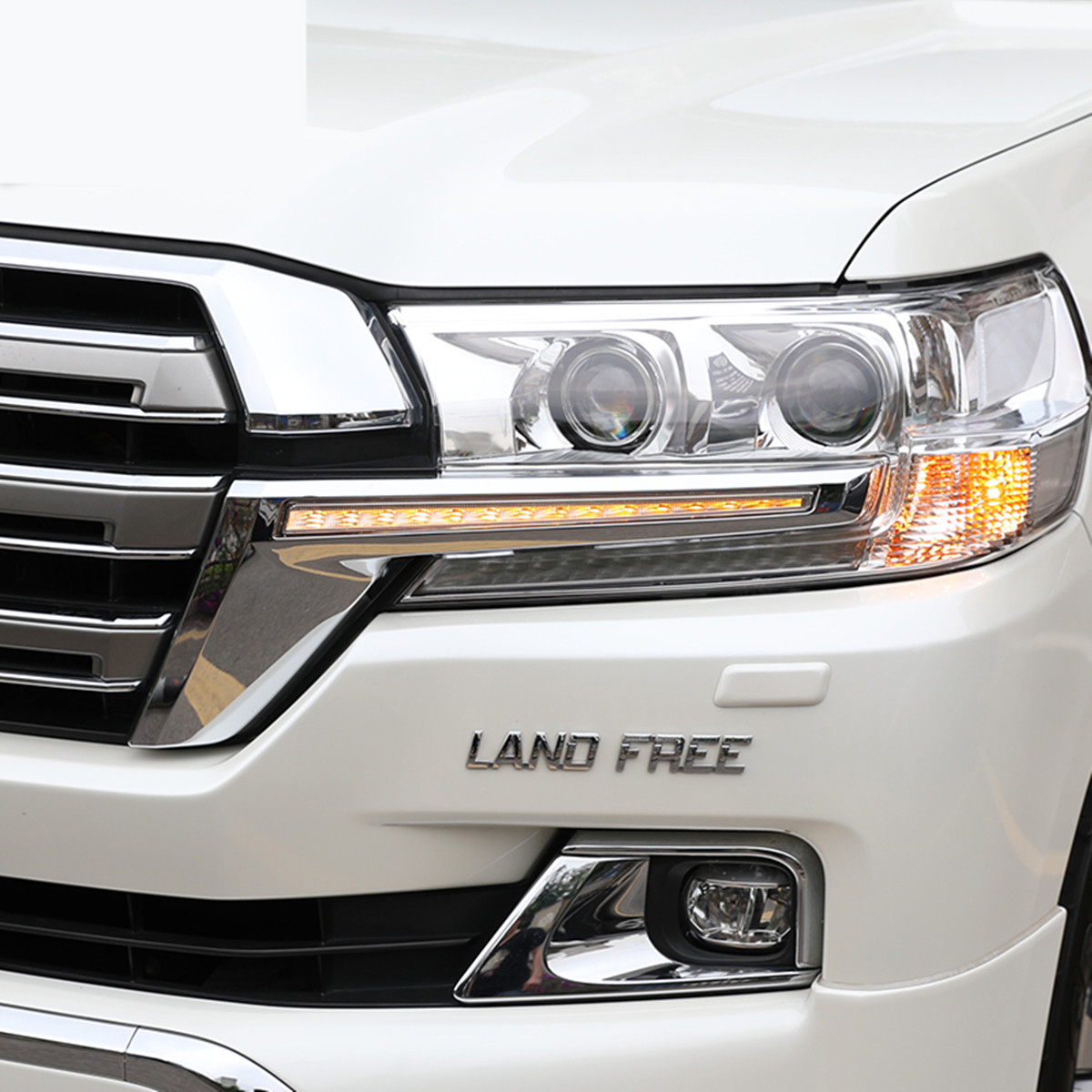 LED Headlight Strip for Toyota Land Cruiser 200 FJ200 2016 2017 2018 2019 Chrome ABS Daytime Running Light Accessories Mitsubishi Pajero