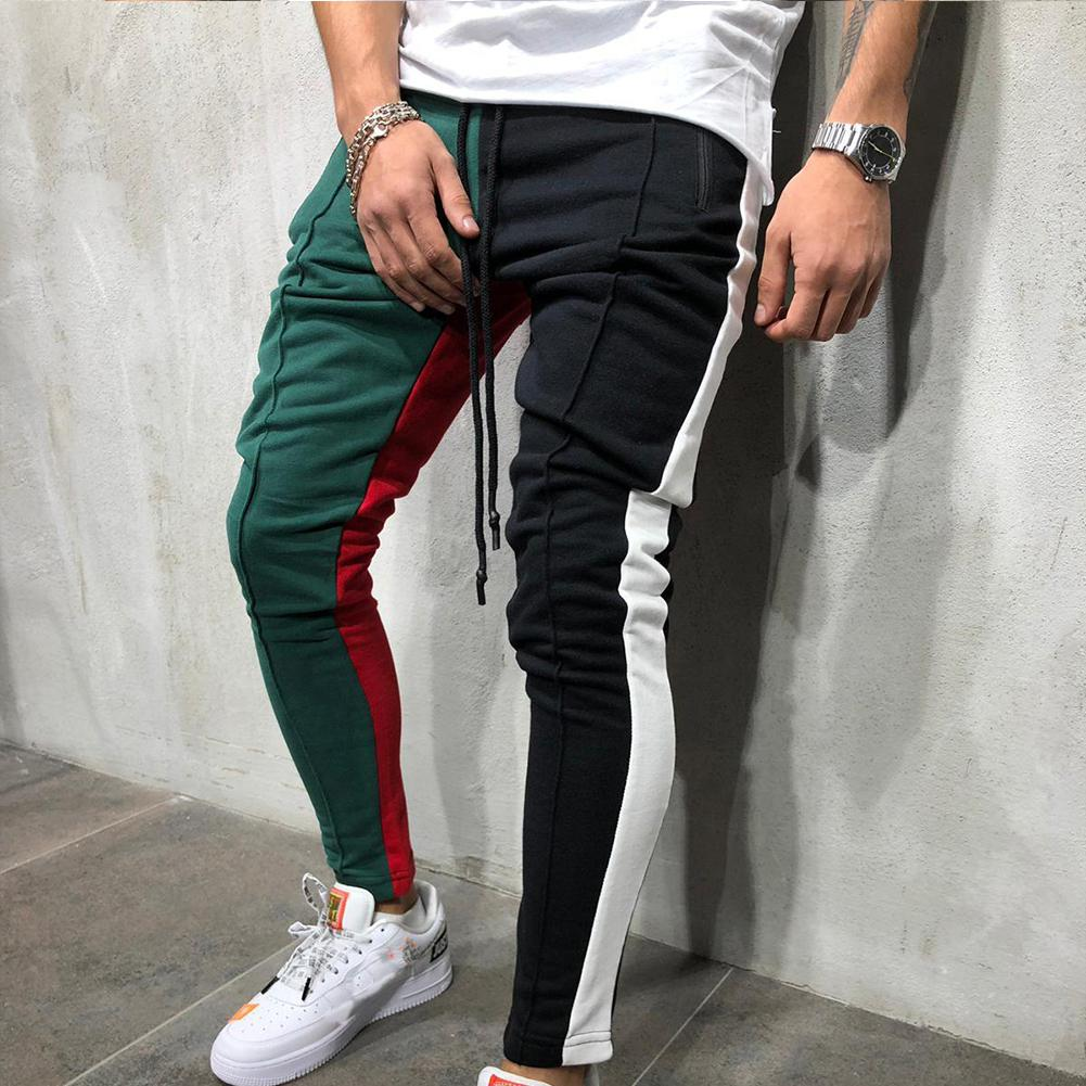 Men Casual Pants Jogger Stadium Gymnasium Colorful Striped Casual Matching Color Pants Hip Hop Sweatpants New Fashion Tracksuit