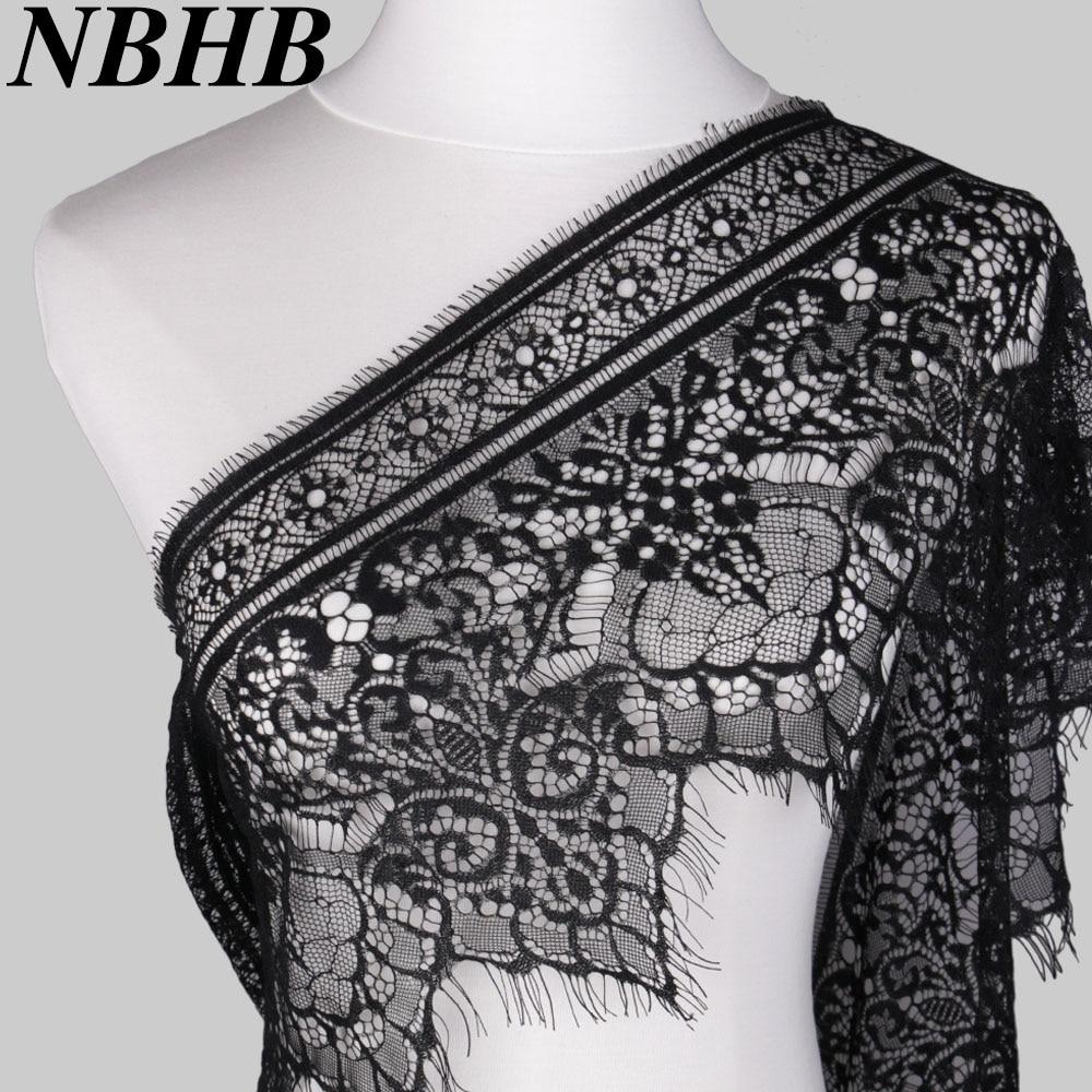 3 YARDS Black Lace Trim Double  Edge Eyelash Sewing Trimmings 24cm