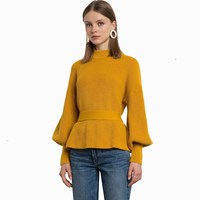 Women Elegant Lantern Sleeve Backless Sweater Sexy Brief Sweater O Neck Slim Pullovers
