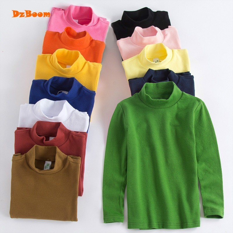 DzBoom Cotton Long Sleeve Child Tops New Solid Color Soft ...