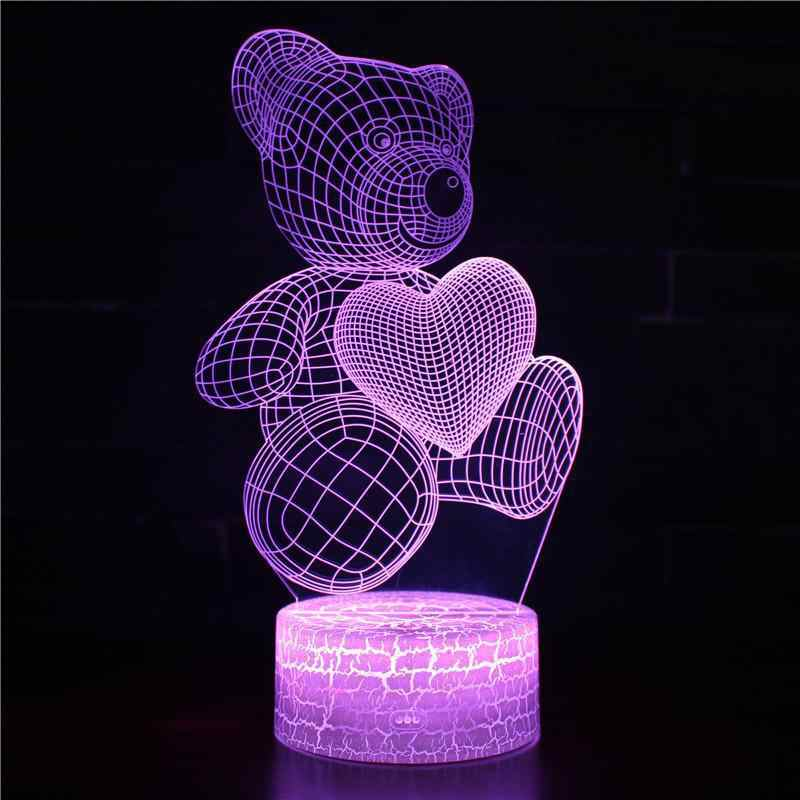 Bear Toy Series 3D Lamp Children's Day Gift 3D Night Light Factory wholesale Power Bank Usb Led 3d Light Fixtures