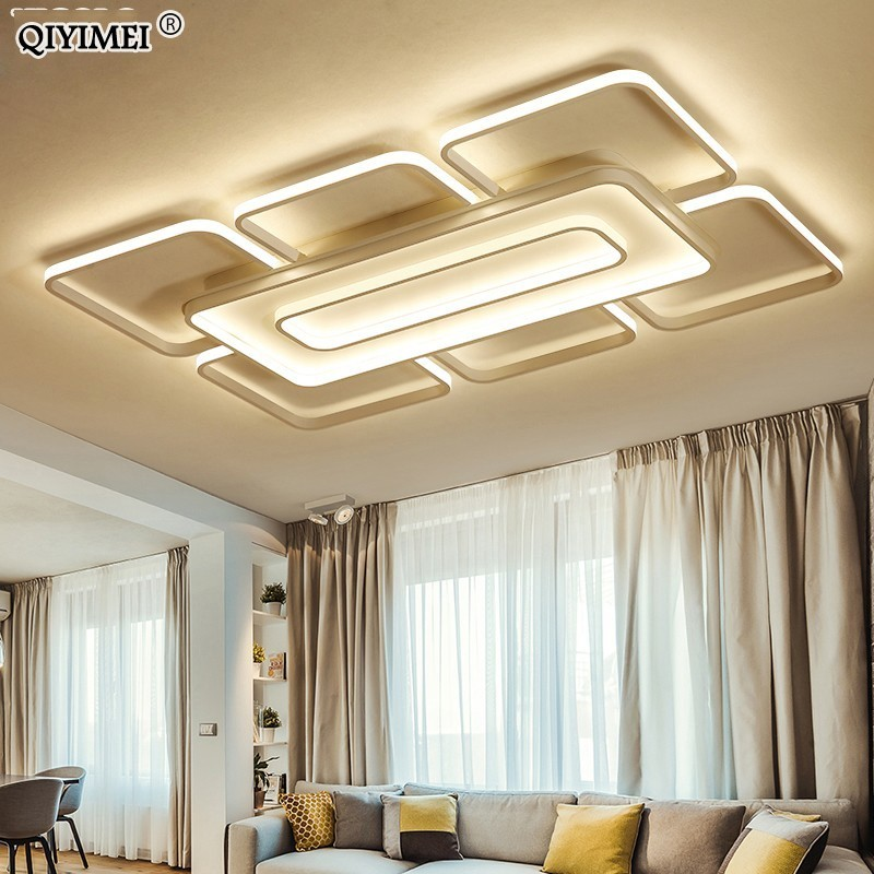 Square/rectangle Ceiling Lights For Living Room Bedroom white/coffee body Modern Led Ceiling Lamp Fixtures lustre plafonnier de-in Ceiling Lights from Lights & Lighting    1