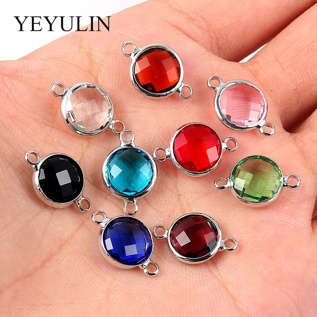 10 Pcs Red Blue Multi-Color Round Alloy Crystal Jewelry Connectors Bracelet Charm For DIY Jewelry Making Necklace