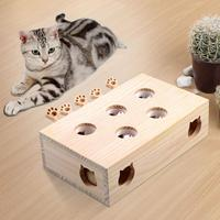 Pet Cat Toy Mouse Solid Wooden Interactive Toy Maze Pet Hamster With Five Holes Mouse Hole Catch Bite Fun Hamster Beating Game