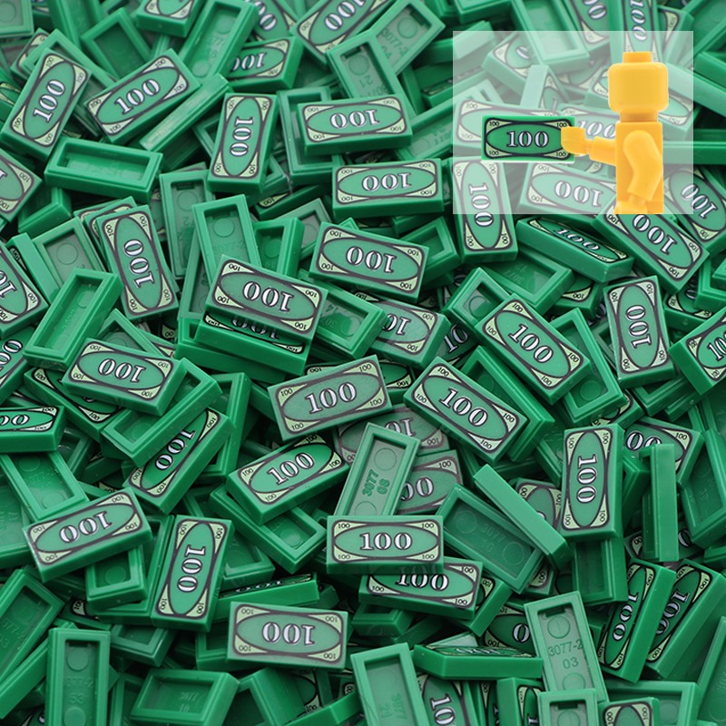 50pcs Cash City Accessories Building Blocks Euro dollar Bill Military Green Printed Tile Brick Toys Compatible LegoINGly Friends