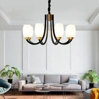 DX Modern Led Chandelier Nordic Lighting Living Room Bedroom Lamp Decor Simple Light Calla Glass Iron Black White Lusters