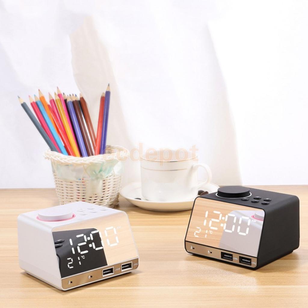 Led Miroir réveil Numérique Snooze Horloge de Table Bluetooth Radio Horloge Électronique Grand Temps Température Afficher UE Plug