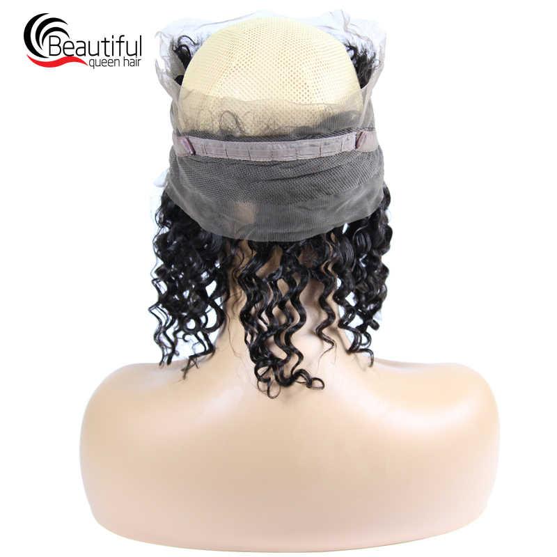 Hermosa reina india cabello humano 360 encaje Frontal 22x4 onda profunda Pre desplumado con parte libre de cabello de bebé remy del pelo del Color Natural