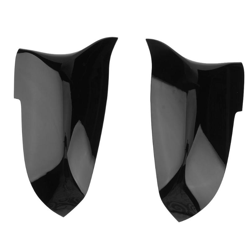 VODOOL 2Pcs Car Door Rear View Mirror Cover Gloss Black Auto Reversing Wing Mirror Caps Car