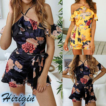 Summer Playsuits 2019 New Womens Casual Off shoulder Ruffled Retro Print Skinny High Waist Playsuit