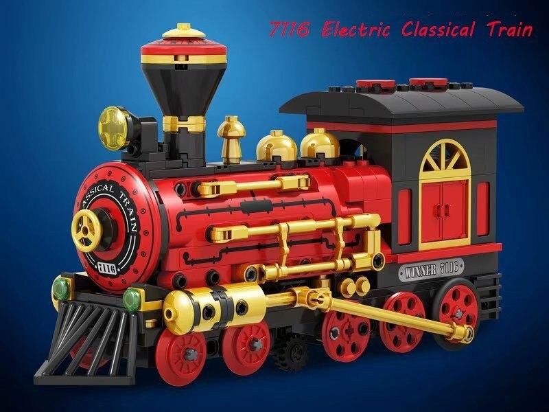 Winner 7116 372pcs Technic Electric Classical Train Building Blocks Bricks Classic Power Model Kids Toys Compatible Legoings