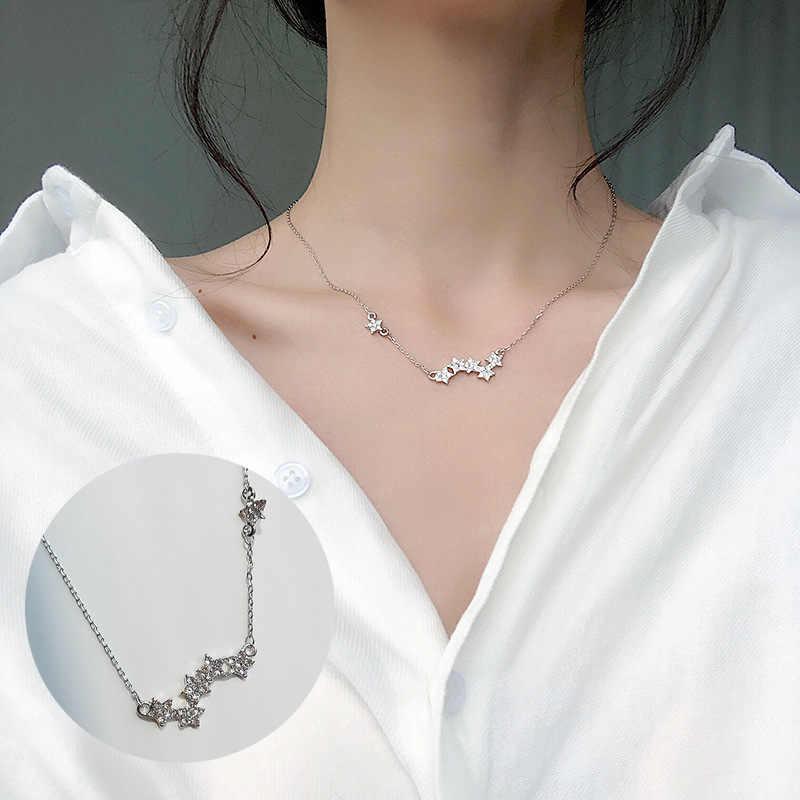 Moda Tiny Dainty naszyjniki dla kobiet biżuteria wielowarstwowe księżyc gwiazda wisiorki kolor srebrny Choker krzyż etniczne prezent dla dziewczyny