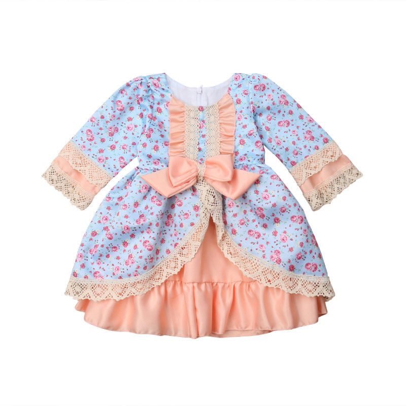 Princess Kids Baby Girls clothes Lace round neck long sleeve Flower print Ruffle zipper Party Bow cotton Dresses one pieces