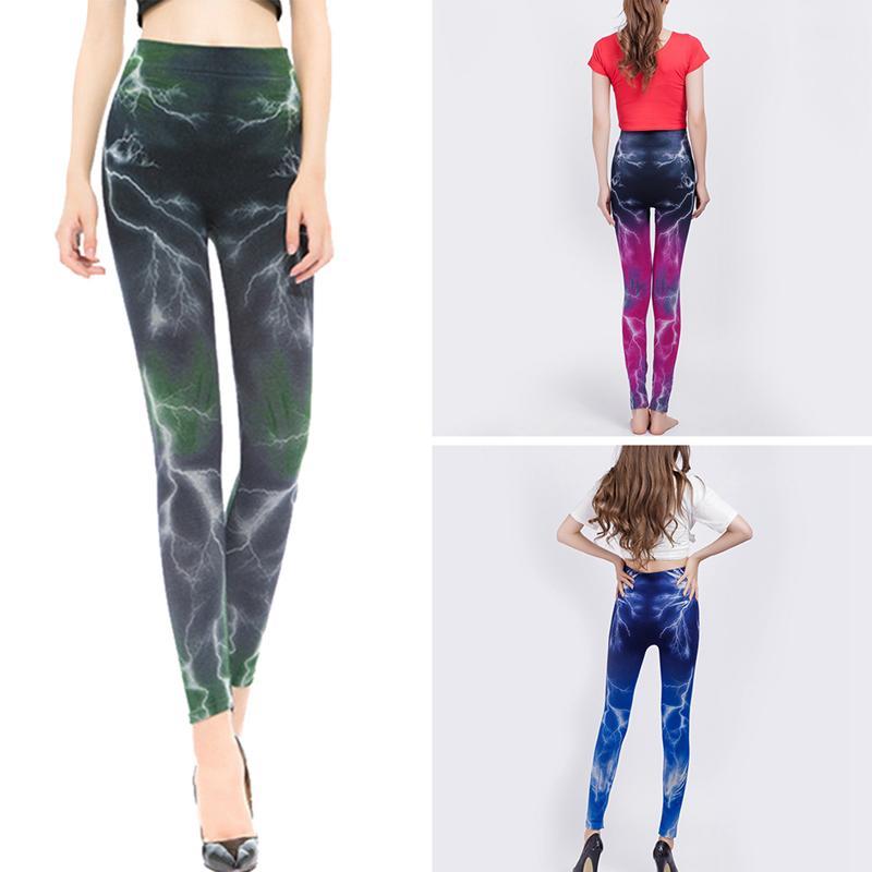 Women's 3D Print Legging Highly Elastic Lightning Print Slimming Fashionable Sports   Pants     Capri   Sweatpants Cropped   Pants