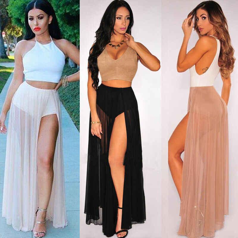 Faldas de chifón de cintura alta para mujer playa abrigo Maxi Split Vestido largo de verano abertura del muslo Bodycon Club Flare ropa