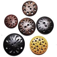 ZIEENE 5 шт. 10 шт. 20 шт. 30 шт. деревянные Большие круглые полые цветы хризантемы деревянные пуговицы для шитья Скрапбукинг для пальто ручной работы