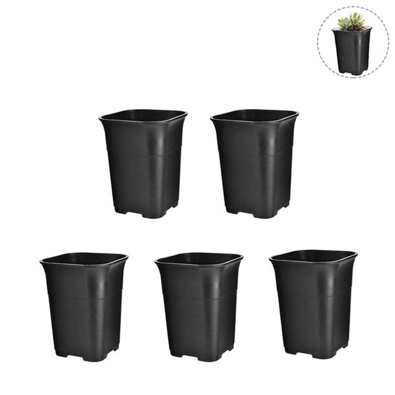 5Pcs Black Square High Waist Mini Nursery Pot Planter Succulent Plant Pot Small Flower Planters Flower Pots & Planters     - title=