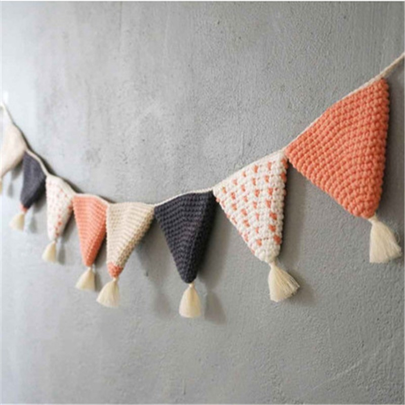 Algodão artesanal crochê pennant banner pendurado pingente crianças quarto berçário decoração fotografia adereços festa de casamento decoração