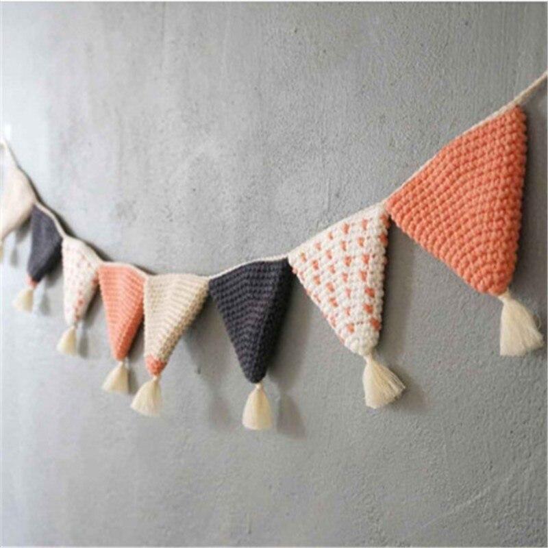 Coton à la main Crochet fanion bannière suspendus pendentif enfants chambre pépinière décoration photographie accessoires de mariage fête décoration
