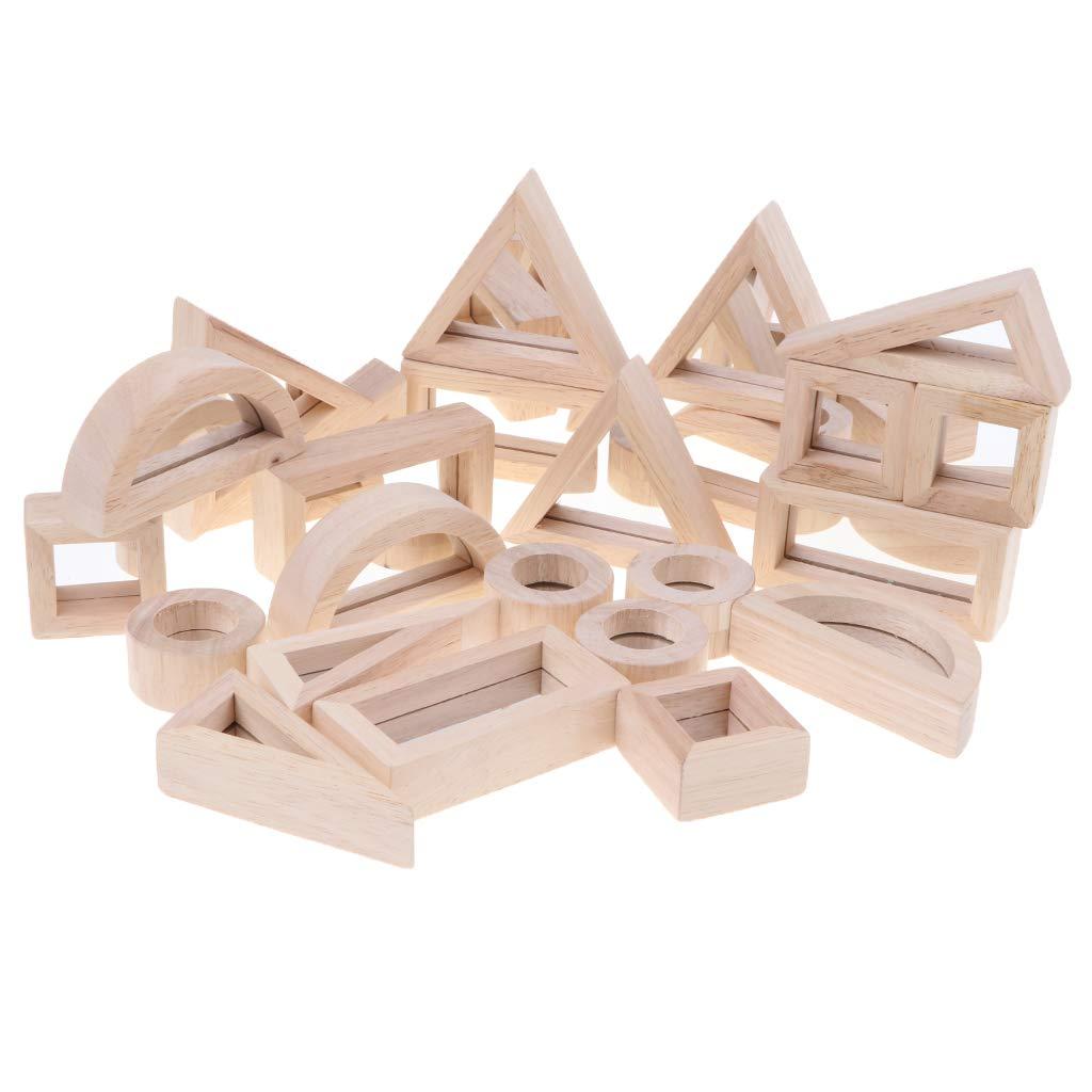 24 pièces en bois géométrique miroir blocs de construction empilage jeu Montessori début d'apprentissage jouets éducatifs pour enfants enfants bébé