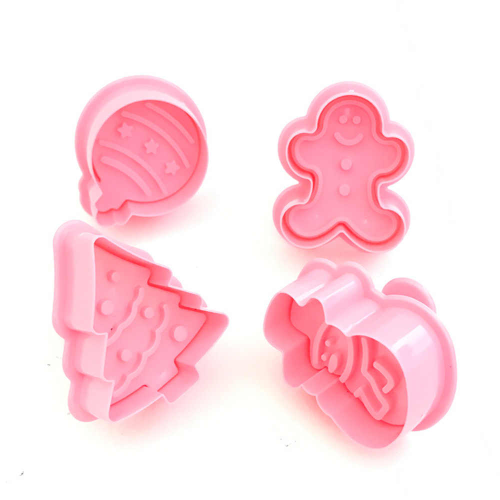 4PCS Mini Cookie Stamp Cutters Biscuit Molds Form 3D Cookie Plunger Cutter DIY Baking Mould Tools Gingerbread Cookie Cutters