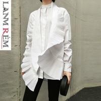 LANMREM 2019 Spring New Women Irregular Shirt Casual Fashion Pleated Decorative White Blouses Female Design Women Clothing YG638