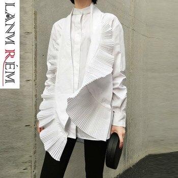 c0da13ebe LANMREM 2019 primavera nueva mujeres Irregular camisa Casual moda plisado  blanco decorativa blusas Mujer diseño ropa de las mujeres YG638