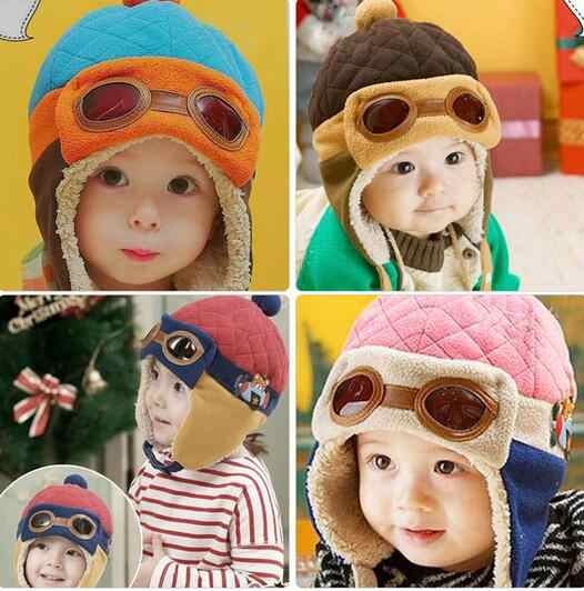 2019 Unisex Bomber Toddlers Warm Cap Hat Baby Boy Girl Winter Pilot Aviator 1pcs Ear Flap Hat Earmuffs Aviator Child Accessories