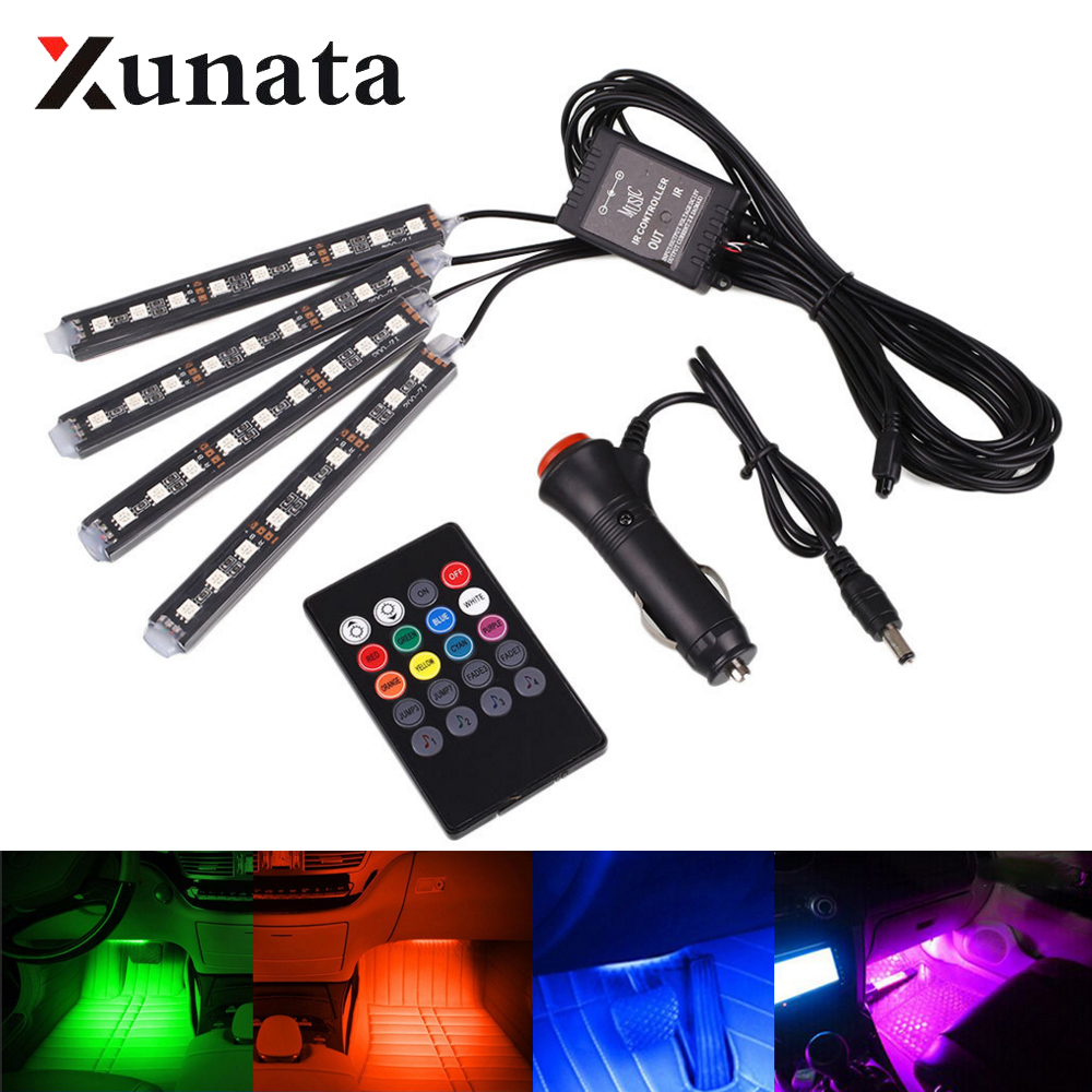 4 in 1 led car interior strip lights color changing music - Automotive interior led light strips ...