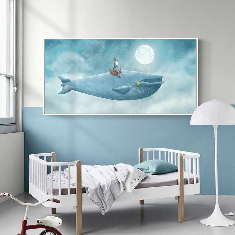 Abstract Watercolor Whale in Blue Sky Nursery Decor Canvas Paintings POP Wall Art Posters Prints Pictures Kids Room Home Decor