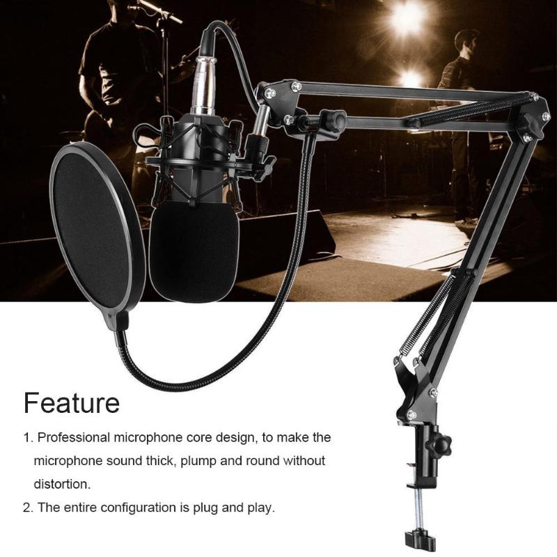 BM-800 Cardiod Condenser Capacitor Microphone Music Recording Mic for PC  Desktop Clip Microphone Electronic competitive Mic