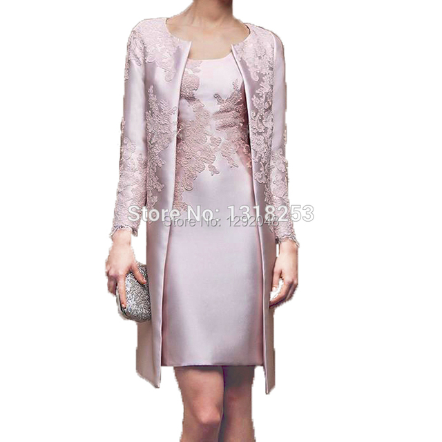 YNQNFS M95 Sheath Satin Pink Two Piece Mother of the Bride Groom Jacket Dresses Lace Formal Dress Party Gown Vestidos de Coctel