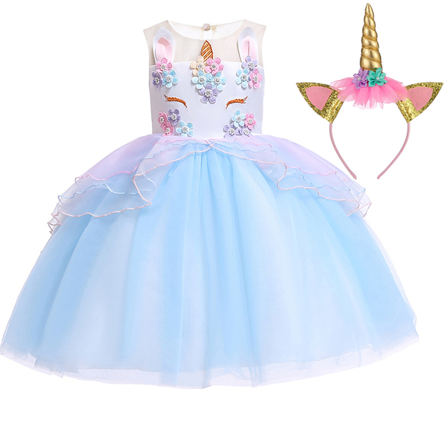 c0511f50f38f 2019 Easter Dress Girl Clothes Princess Wedding Costume Kids Dresses For  Girls Dress Clothing Party Unicorn Dress 2 3 9 10 Years
