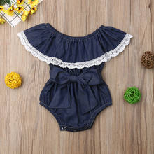 Infant Baby Clothes Kid Girl Lace Demin Sleeveless Baby Rompers Big Bow Jumpsuit Sunsuit Outfit Summer New Born Baby Clothes(China)