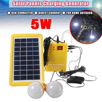 9V 3W USB Charger Solar Panel Indoor Outdoor System Solar Panels Battey Charging 2 LED Bulbs Power Generator Energy Camp Travel