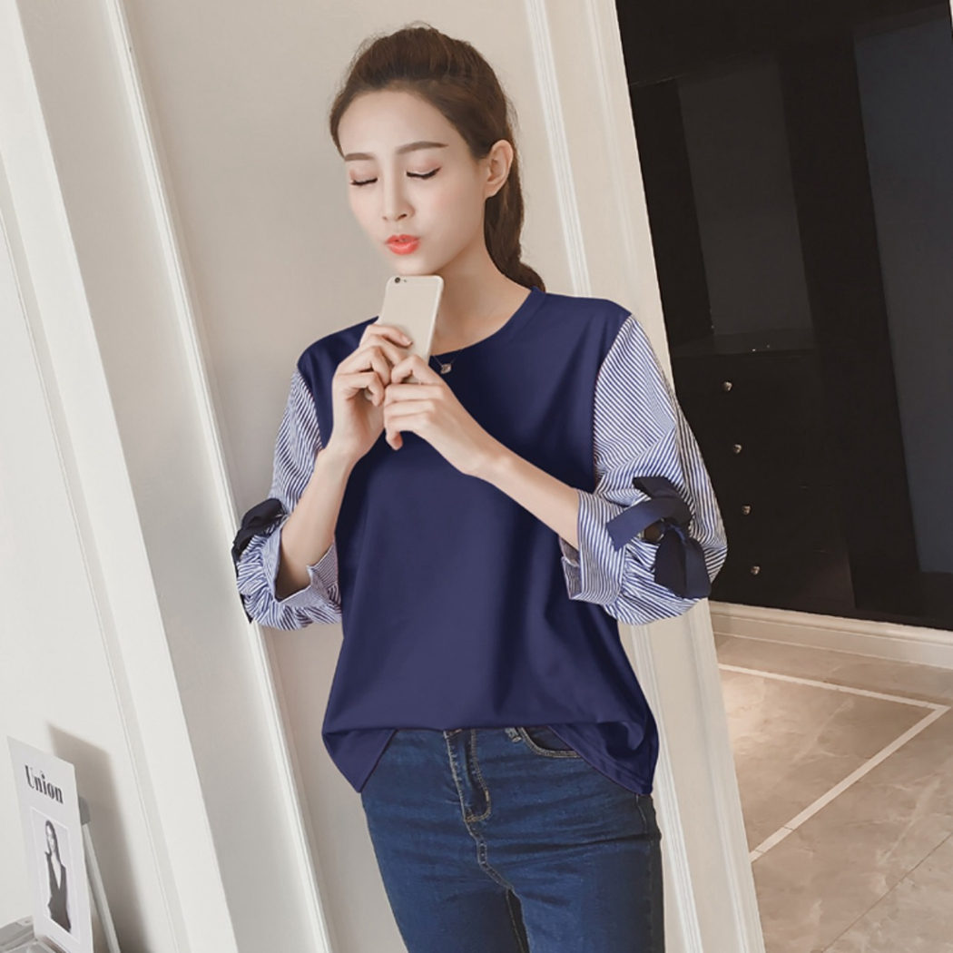 New Women Spring amp Summer Bow Chiffon Blouse Patchwork Shirts Office Lady Lantern Sleeved Solid Loose Casual Tops 2019 in Blouses amp Shirts from Women 39 s Clothing