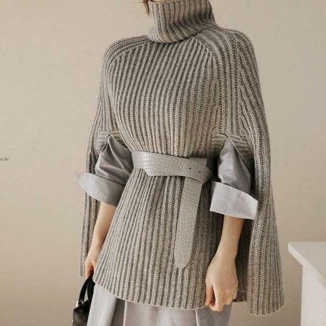 De 2018 Chal Casual Poncho Negro Punto Y Streetwear Pullovers Invierno Mujeres Las gris Manto Otoño blanco Suelto Suéter tzZ05wqWv