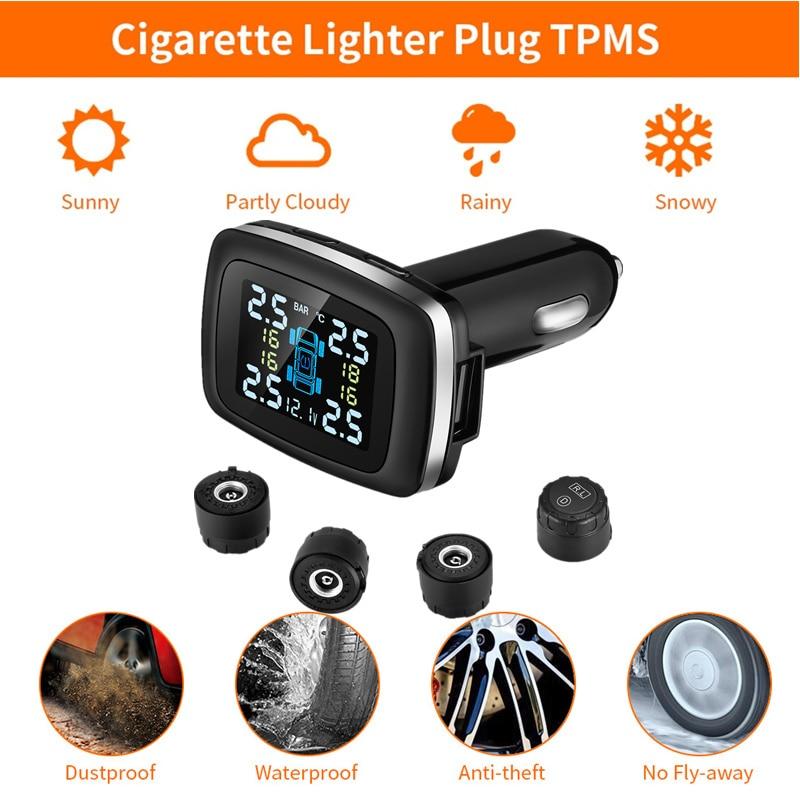 ZEEPIN C100 Tire Pressure Monitoring System Cigarette Lighter Plug TPMS LCD Screen Display 4 External Sensors Auto Tyre Alarm