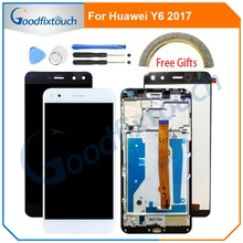 For Huawei Nova Young 4G LTE / Y6 2017 / Y5 2017 LCD Display+Touch Screen Digitizer Assembly With Frame MYA-L11 MYA-L41(China)