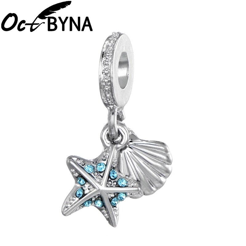 Octbyna Морской стиль бисер серебряного цвета Морская звезда & Морская раковина, кулон, амулеты подходит Pandora шарм браслеты и ожерелье ювелирные изделия